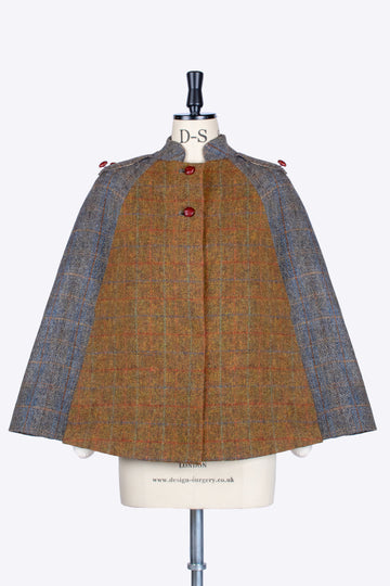 Rust and Sage Harris Tweed luxury Nehru short cape