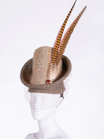 Sustainable luxury - Edwardian style British tweed hat with pheasant feathers and leather buttons