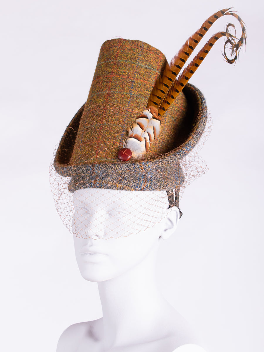 Highland Duchess With Veil. Rust & Sage