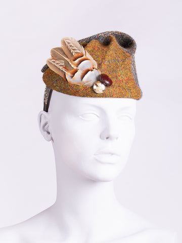 rust and sage Harris Tweed hat with feathers