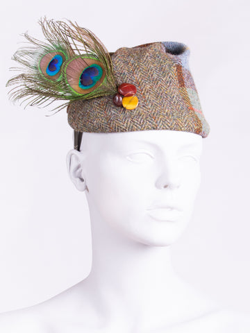 MacLeod tweed short peacock feather hat