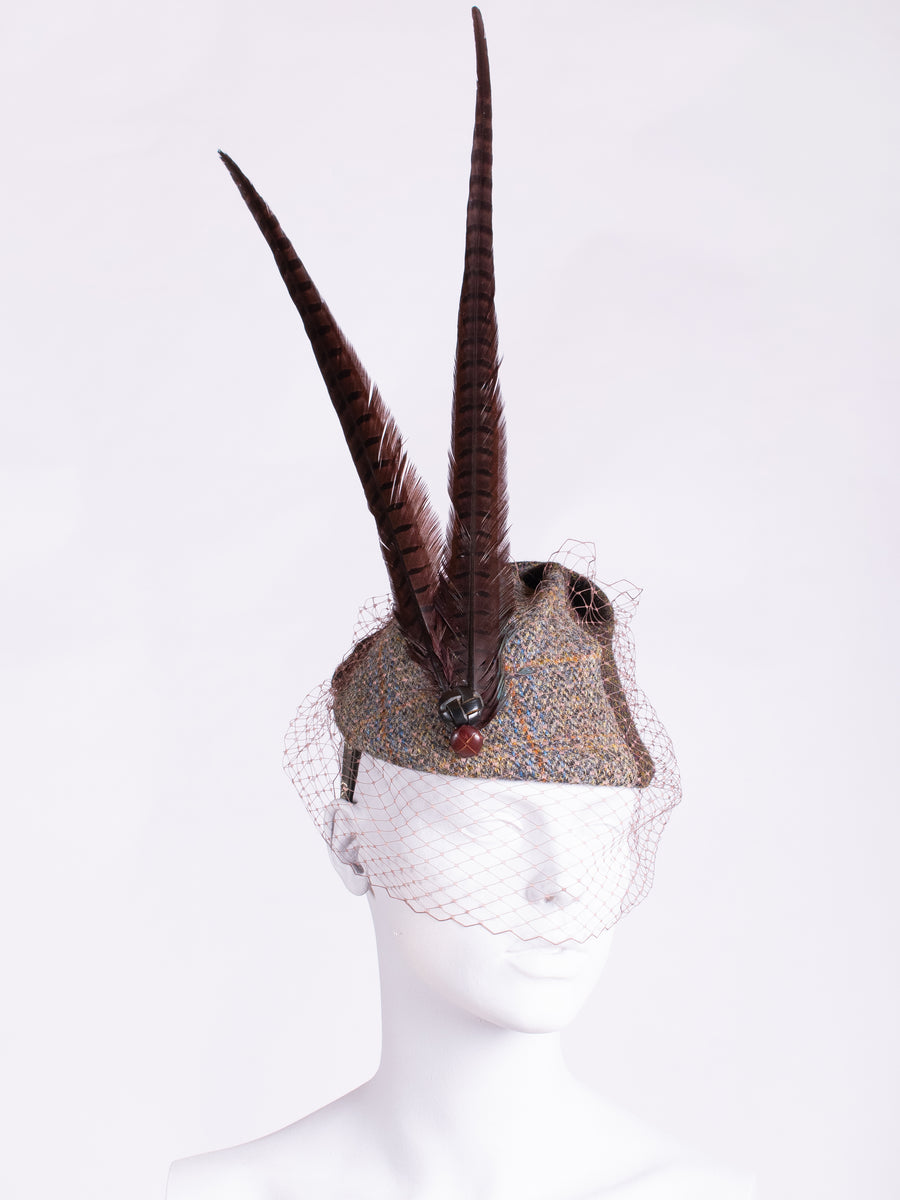 Sage and chocolate Harris Tweed hat with long pheasant feathers, leather buttons and veil