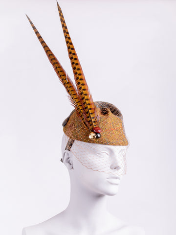 rust and sage Harris Tweed hat with long pheasant feathers, leather buttons and veil