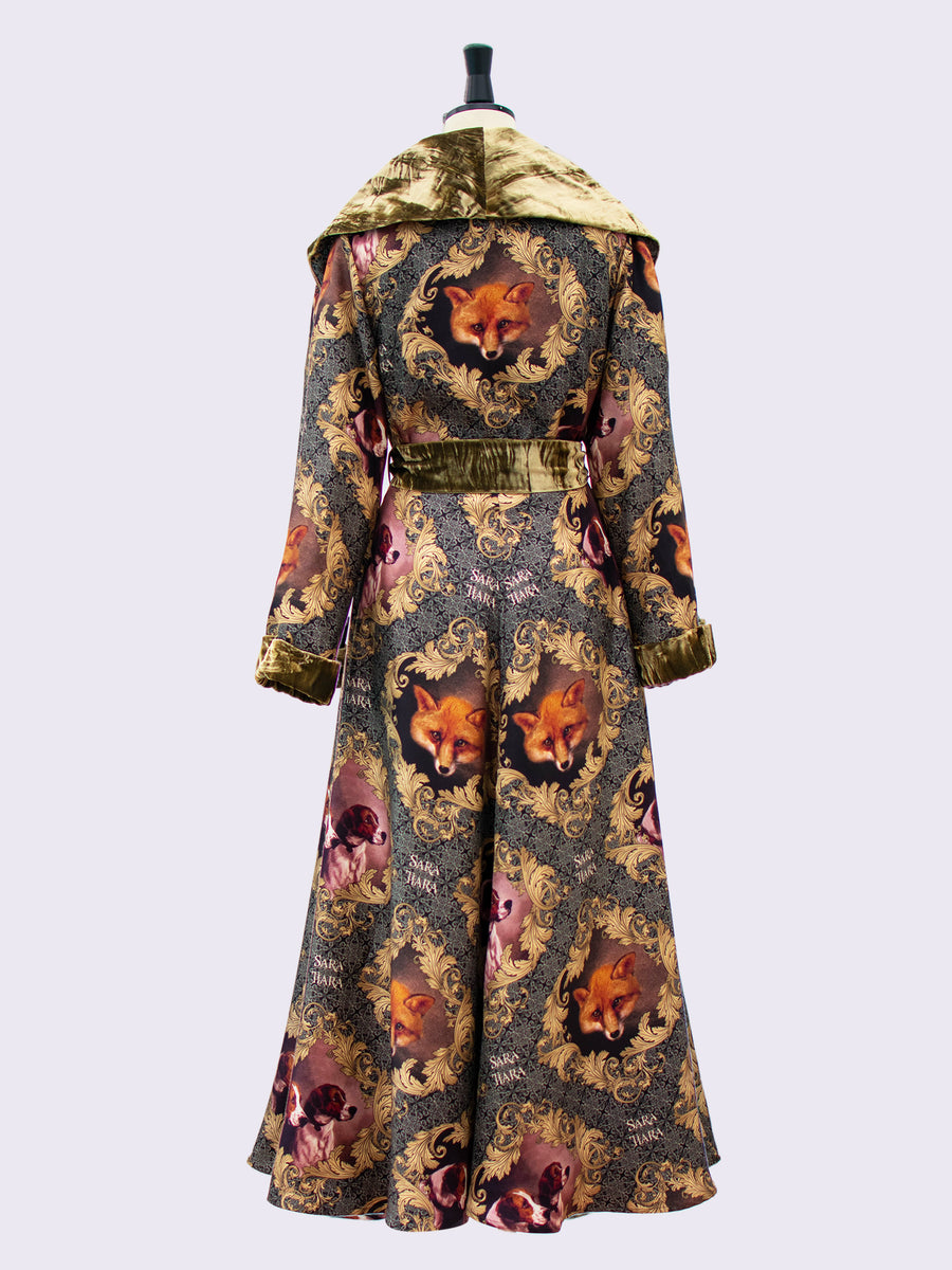 British fashion label - luxury loungewear - printed silk dressing gown