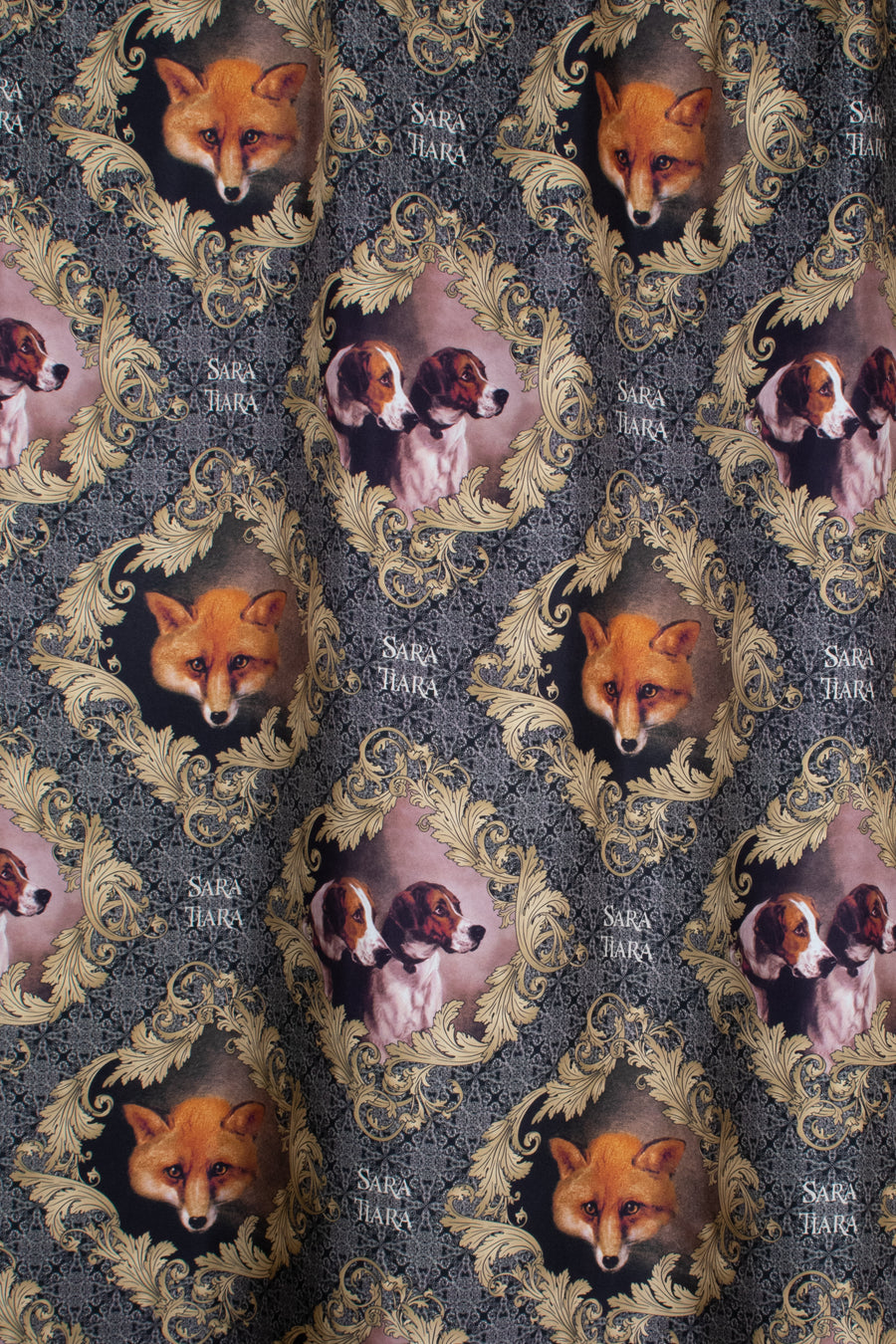 fox and hounds print silk lining for slow fashion wool jacket