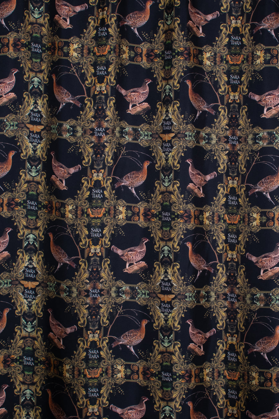 Grouse print silk lining for Sage and Chocolate Harris Tweed country Nehru long cape
