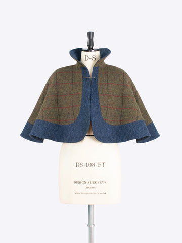 Green and navy capelet - ladies tailoring