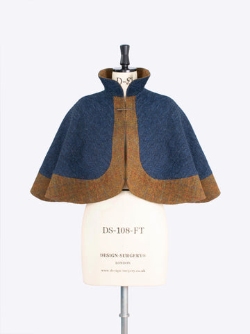 Navy wool cape - made in England - ladies tailoring