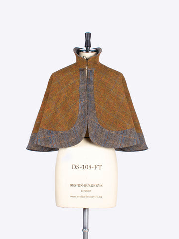 Rust and sage handwoven tweed capelet - slow fashion