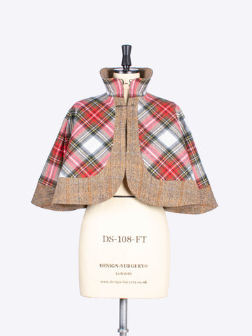 white scottish tartan and beige tweed capelet - made in New Forest