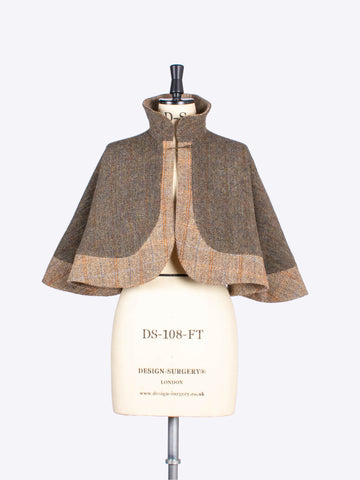 Moss green and beige short cape - handwoven tweed - british fashion label
