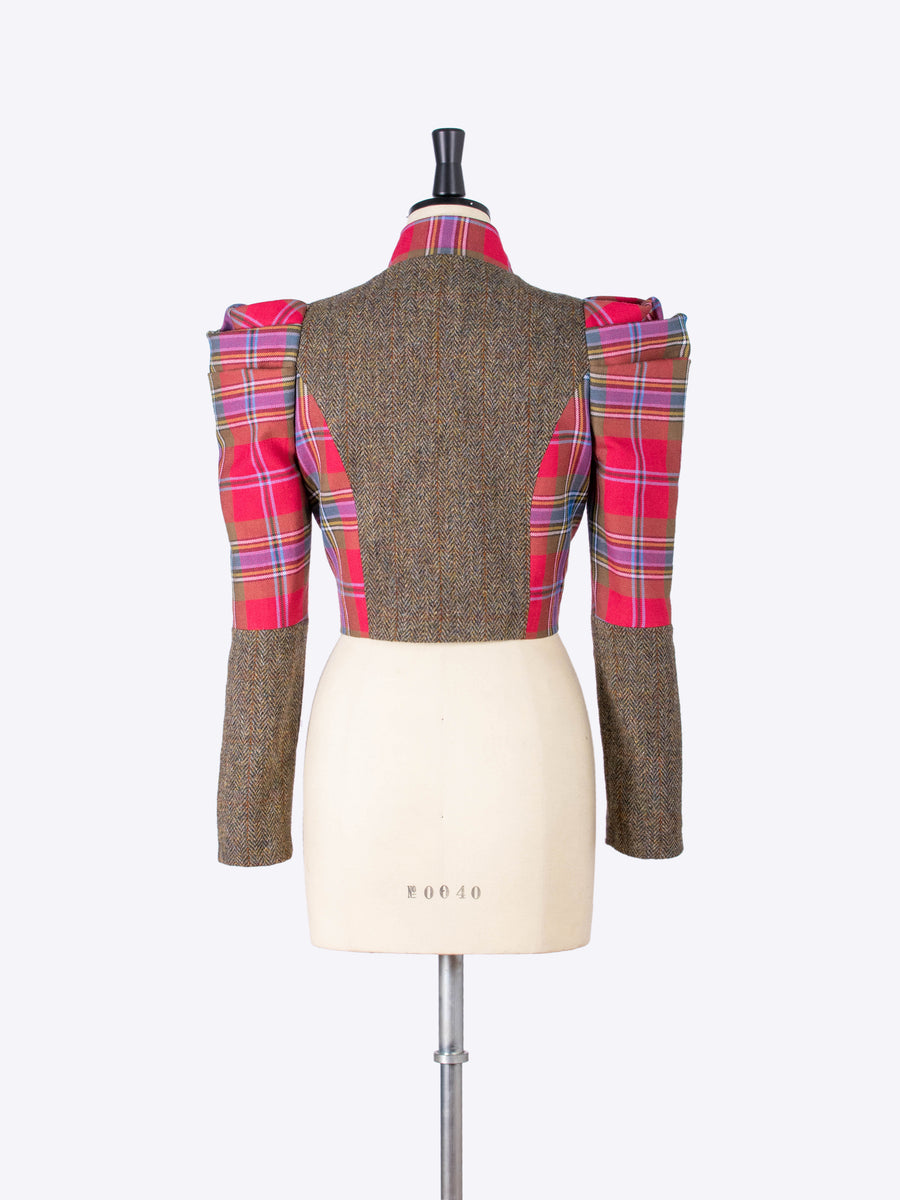red puff sleeve bolero jacket - olive green tweed and red Scottish tartan