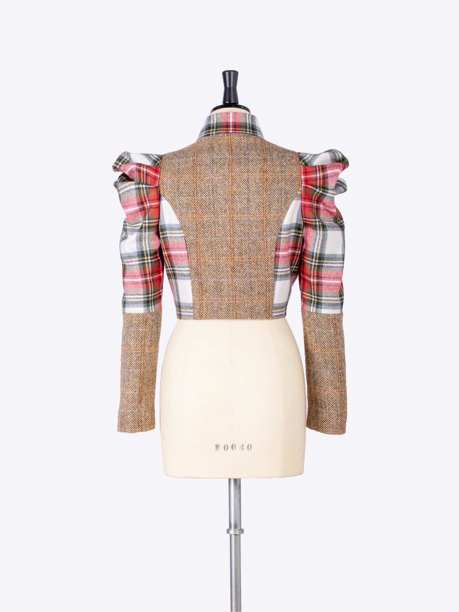 white scottish tartan and beige tweed puff sleeve bolero jacket - made in New Forest