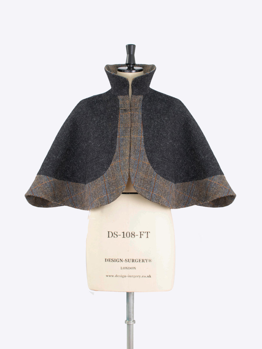 Charcoal capelet - victoriana style harris tweed outwear
