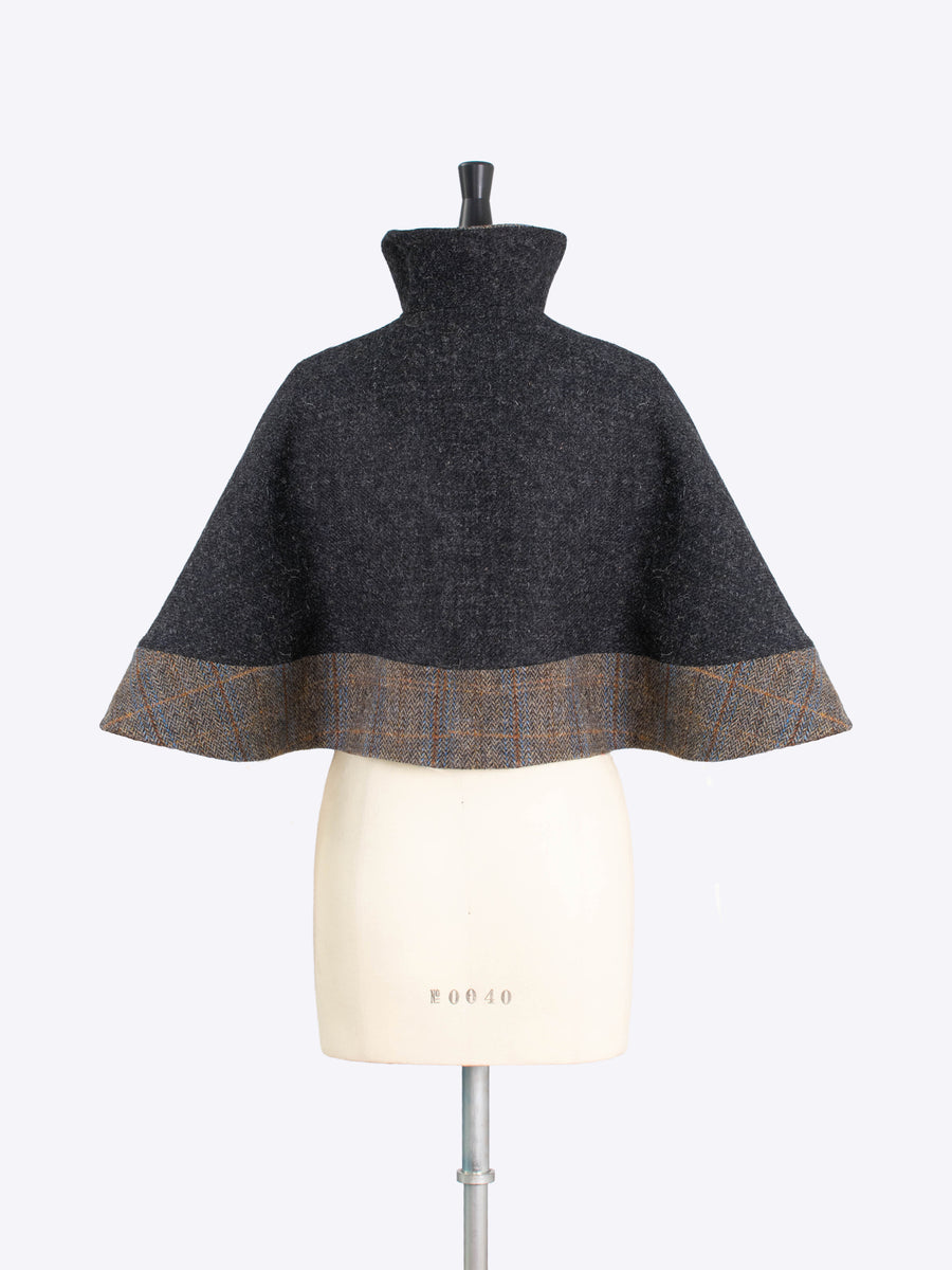 charcoal and sage short cape - sustainable luxury