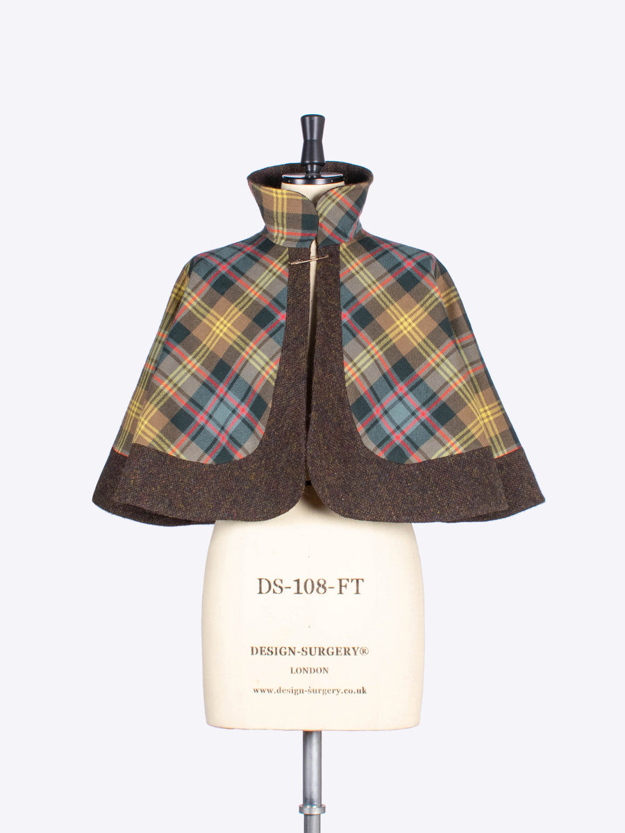 brown tartan and tweed capelet - made in England