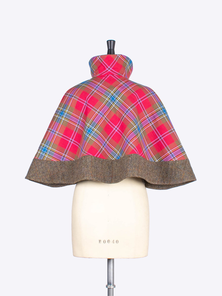 short cape - red tartan - heritage fashion
