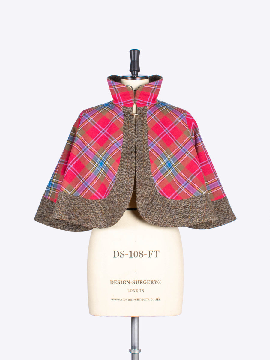 red tartan and olive tweed capelet - independent fashion label