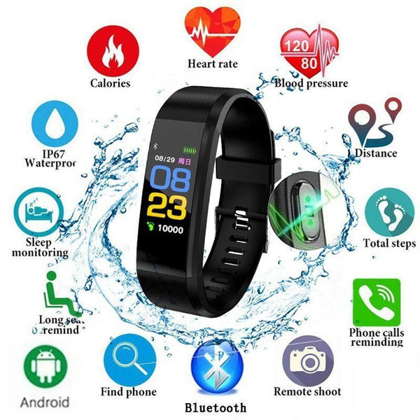 115 PLUS Smart Watch Heart Rate Monitor Blood Pressure Fitness Tracker Smartwatch Sport Watch for ios android + BOX Men Women - 1bigshop