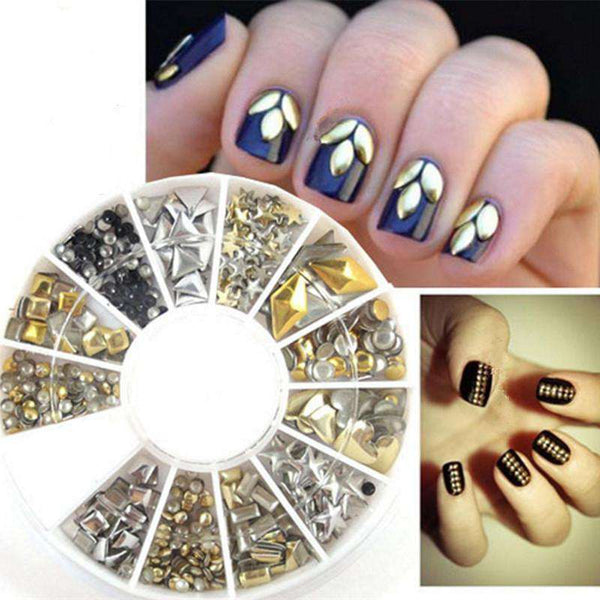 240PCS Nail Art Mixed Rivet Shapes Acrylic Rhinestone Nail Art Decorations - 1bigshop
