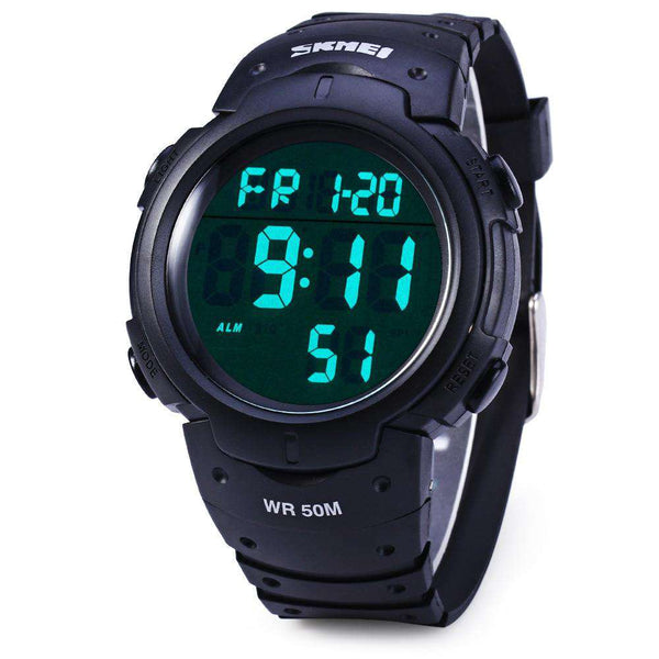 Skmei 1068 Multifunctional LED Military Watch Alarm Stopwatch Water Resistant - 1bigshop