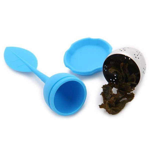 Silicone Handle Leaf Tea Infuser Steel Ball Strainer with Drip Tray - 1bigshop