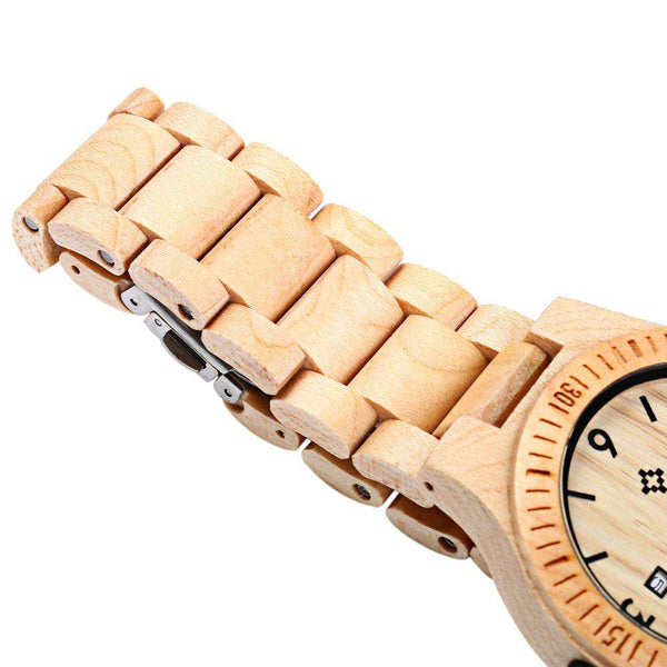 Bewell ZS - W086B Wood Quartz Men Watch Analog Date Display - 1bigshop
