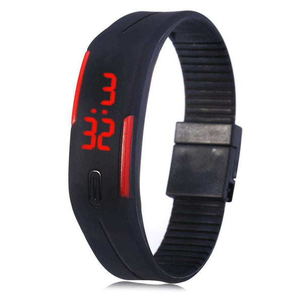 LED Watch Date Red Digital Rubber Wristband Rectangle Dial - 1bigshop