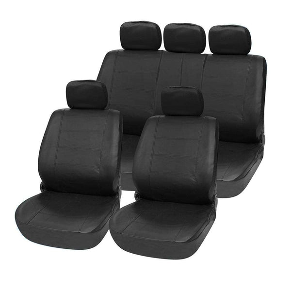 T21623 BK 11pcs Car Seat Cover Set PU Leather Water-resistant Anti-Dust Auto Cushion Protector - 1bigshop