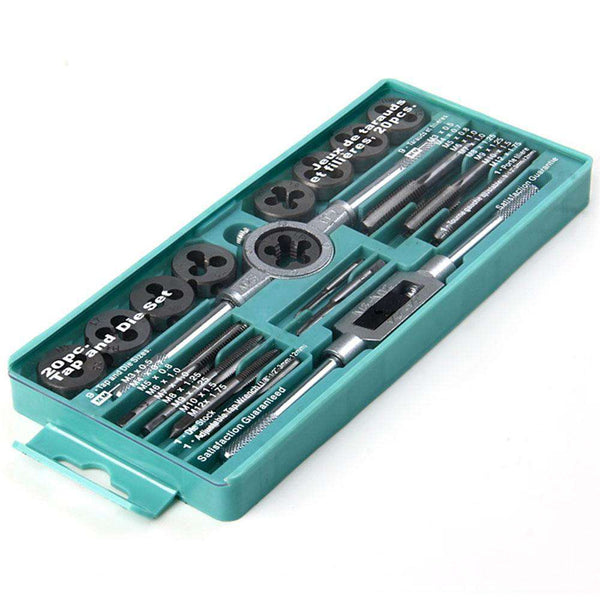 20PCS Tap and Die Set Metric Hardware Tool Combination with Adjustable Tap Wrench - 1bigshop