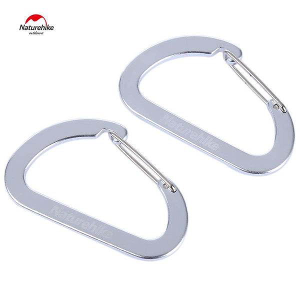 Naturehike 2pcs Outdoor Climbing Aluminum Alloy Multi-functional Fast Hang D-shape Carabiner Buckle - 1bigshop