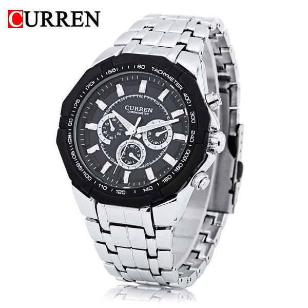 Curren 8084 Male Quartz Watch 3ATM Decorative Sub-dial Stainless Steel Band Wristwatch - 1bigshop