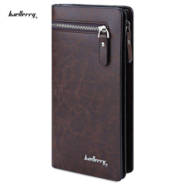Baellerry Solid Color Cell Phone Money Photo Card Clutch Wallet for Men - 1bigshop