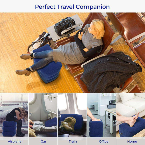 HM021 Travel Inflatable Adjustable Height Foot Rest Pillow for Kids Adult - 1bigshop