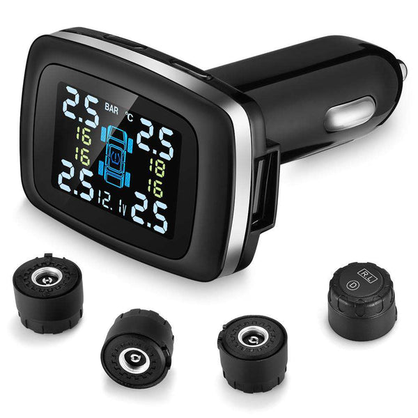 ZEEPIN C100 Tire Pressure Monitoring System Cigarette Lighter Plug TPMS LCD Screen Display 4 External Sensors - 1bigshop