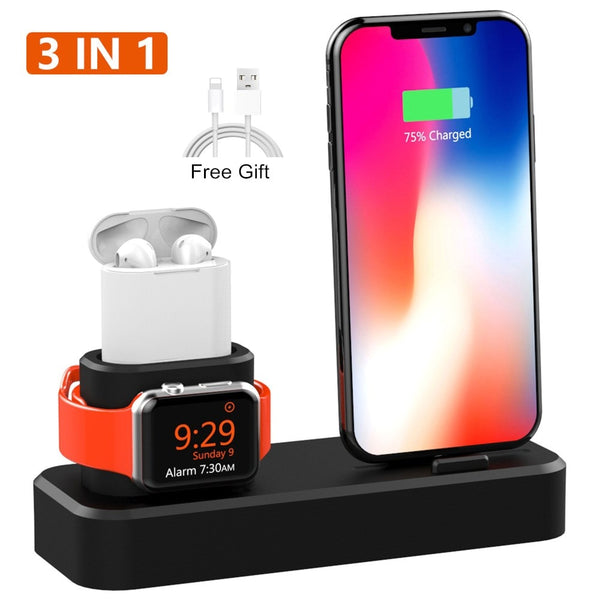 3 in 1 Charging Dock Holder For iPhone XS XR 8 8 Plus 7 6 Silicone Charging Stand Dock Station For Apple watch 4 3 2 For Airpods - 1bigshop