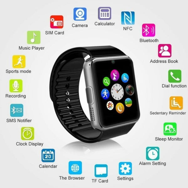 GT08 Bluetooth Smart Watch Touch Screen Big Battery Support TF Sim Card Camera For iPhone Android Smartwatch PK DZ09 Watch - 1bigshop