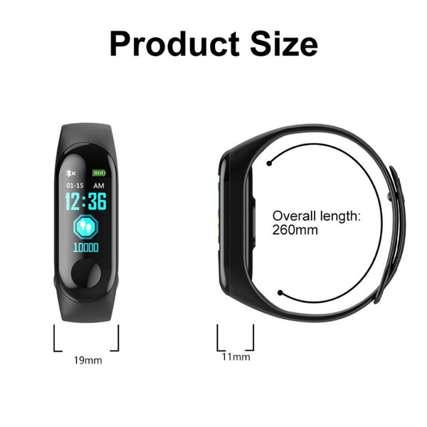 M3 Smart Band Watch Bracelet Fitness Tracker Pedometer Blood Pressure Heart Rate Monitor Waterproof Wristband 2019 new - 1bigshop
