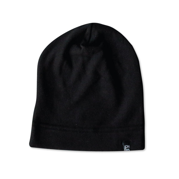 VONBON BLACK FLEECE BEANIE HAT