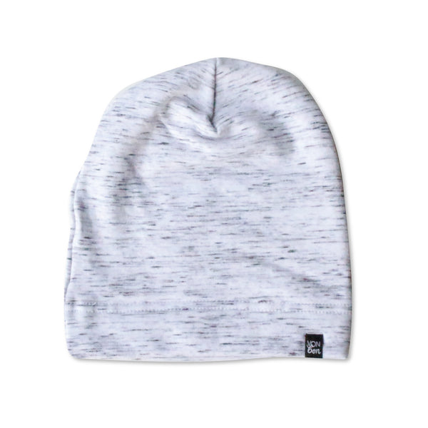 VONBON GRAY FLEECE BEANIE HAT