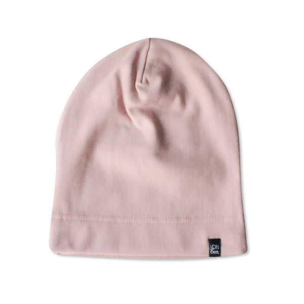 VONBON BLUSH PINK FLEECE BEANIE HAT