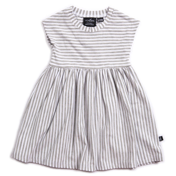 ORGANIC BABY GIRLS DRESS GRAY STRIPE CAP SLEEVE CANADIAN MADE