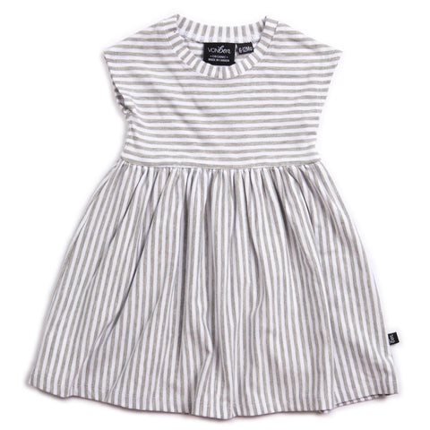 CAP SLEEVE DRESS | GRAY STRIPE