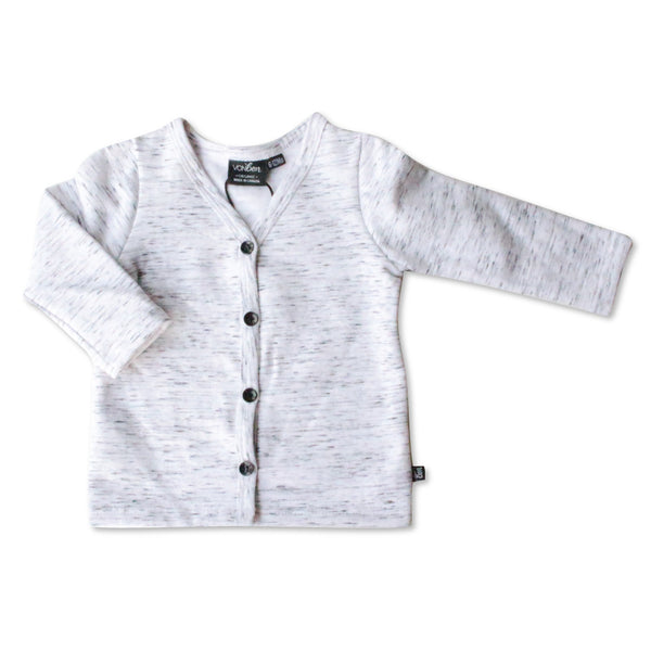 VONBON GRAY FLEECE CARDIGAN SWEATER