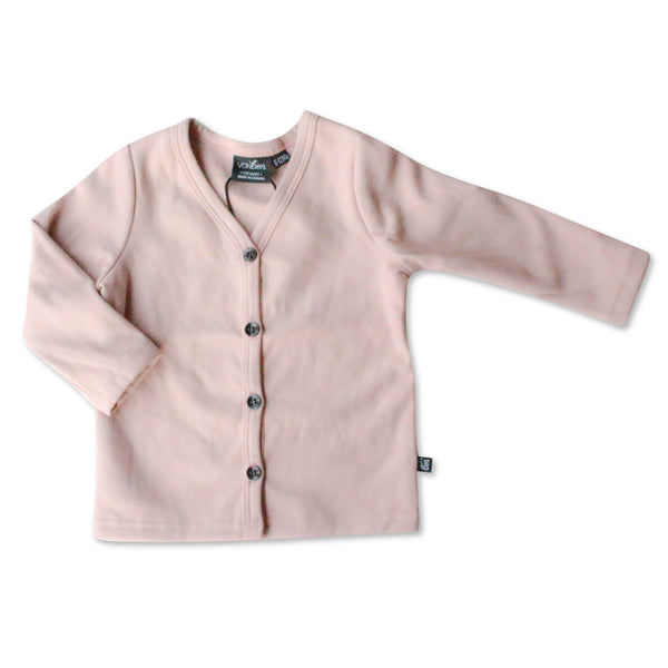 VONBON BLUSH PINK FLEECE GIRLS CARDIGAN