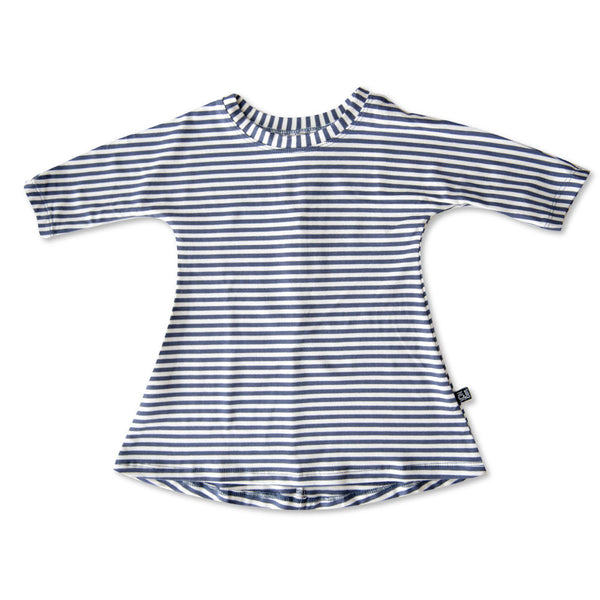 VONBON GIRLS BLUE STRIPE BAMBOO DRESS