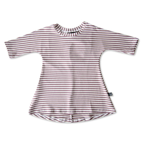 3/4 SLEEVE DRESS | LILAC STRIPE