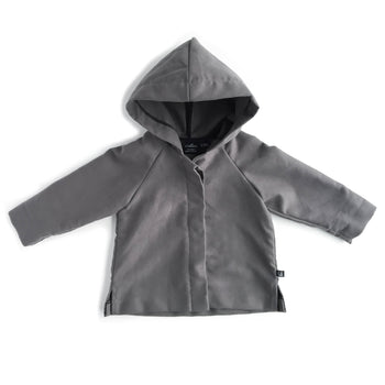 BABY ORGANIC COTTON GRAY HOODED JACKET