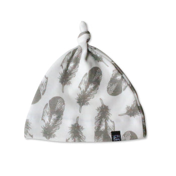 KNOTTED BABY HAT | GRAY FEATHER