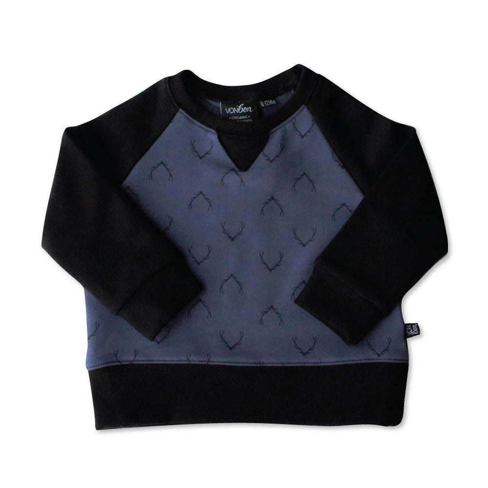 VONBON BLUE ANTLER FLEECE PULLOVER SWEATSHIRT